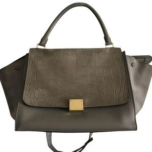 CELINE Large Grey Croc Embossed Leather Trapeze